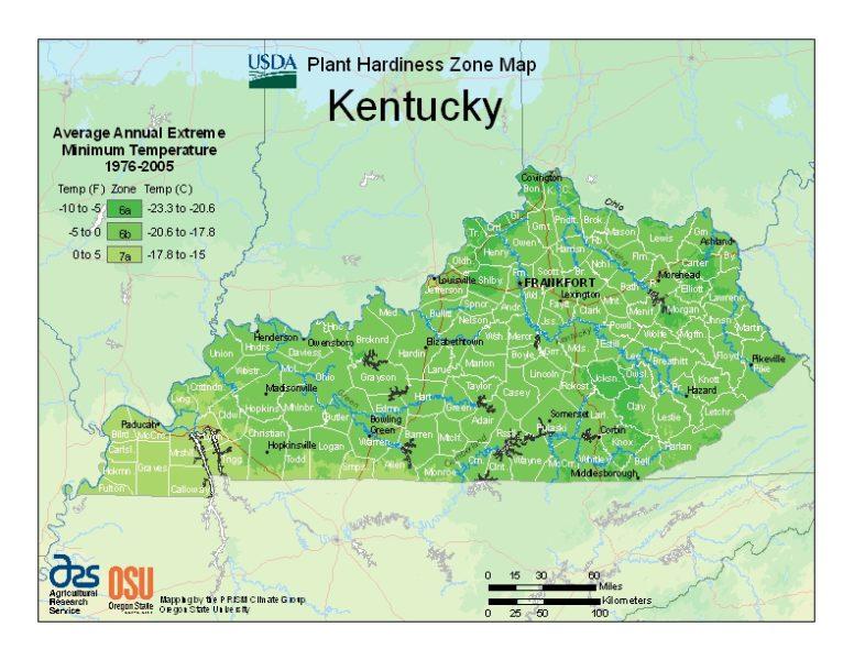 Kentucky Grow Zone Map Evergreenshrubs