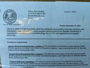 Wilson Bros Gardens Compliance Certificate