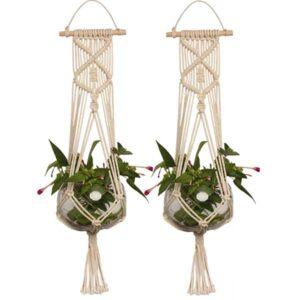 macrame hanging flower baskets