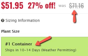 Nature Hills Nursery pricing