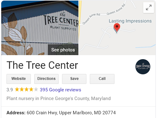 The Tree Center Google Business Listing